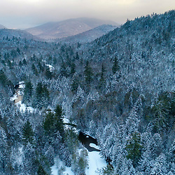 Winter on the Hudson River near its source in New York's Adirondack Mountains. Tawhawus Tract, Newcomb, New York.