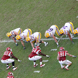 November 25, 2011; Baton Rouge, LA, USA; The LSU Tigers offense lines up against the Arkansas Razorbacks defense during the fourth quarter of a game at Tiger Stadium. LSU defeated Arkansas 41-17. Mandatory Credit: Derick E. Hingle-US PRESSWIRE