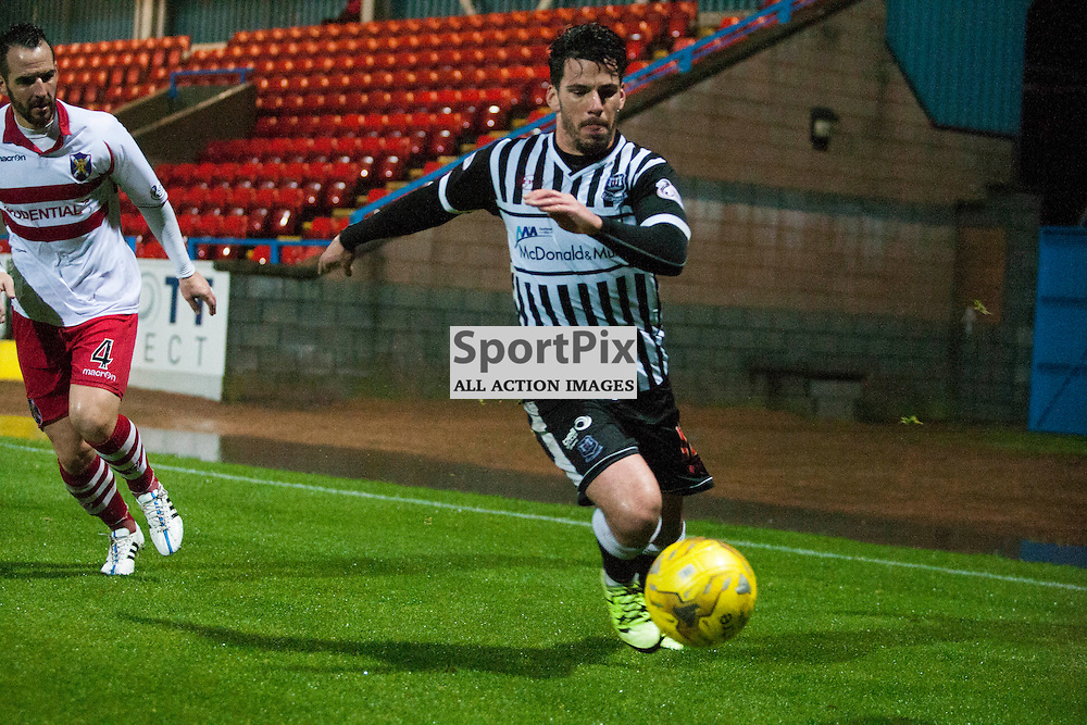 Daniel Moore on the ball and Aurelien Mazel lacking in the Stirling Albion v Elgin City Forthbank 05 December 2015<br /><br />(c) Russell G Sneddon / SportPix.org.uk