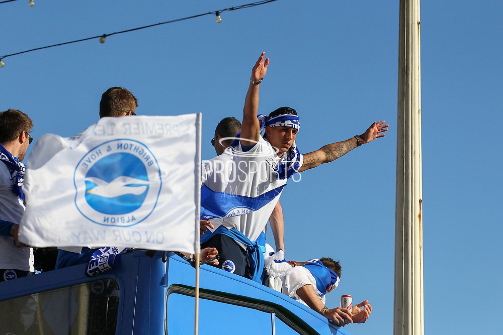 Brighton & Hove Albion winger Anthony Knockaert during the Brighton & Hove Albion Football Club Promotion Parade at Brighton Seafront, Brighton, East Sussex. United Kingdom on 14 May 2017. Photo by Ellie Hoad.