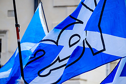Lanark, Scotland, UK 20th August 2016   A march and ceremony to commemorate the death of Scottish Hero William Wallace (23rd August 1302) held on Saturday 20th August 2016.  Wallace has strong connections with the town of Lanark.  YES Saltire flags flying at the evnt.<br /> <br /> (c) Andrew Wilson | Edinburgh Elite media