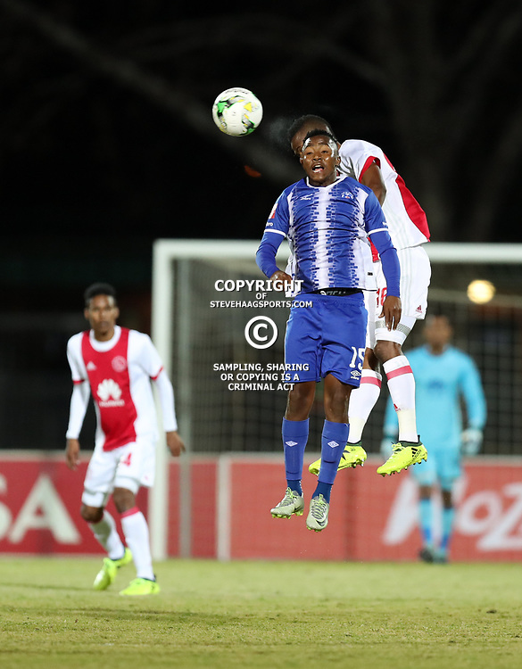 DURBAN, SOUTH AFRICA - AUGUST 23: Lebohang Maboe of Maritzburg Utd  1st to head the ball during the Absa Premiership match between Maritzburg United and Ajax Cape Town at Harry Gwala Stadium on August 23, 2017 in Durban, South Africa. (Photo by Steve Haag/Gallo Images)
