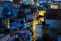 Rooftops of the blue city of Jodphur at night, Rajasthan, India,
