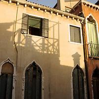 Italian buildings with evening sunlight