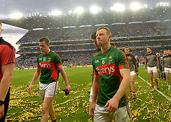 Dissapointed Mayo players Stephen Coen and Colm Boyle .<br />