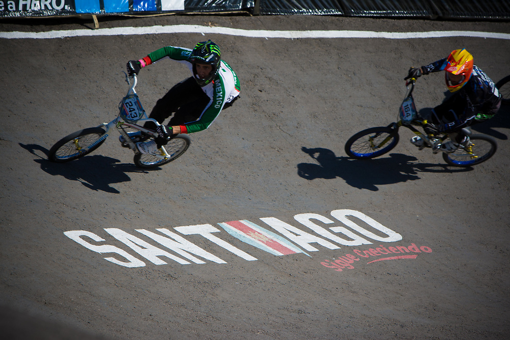 Riders on the first turn at the UCI BMX Supercross World Cup in Santiago del Estero, Argintina.