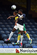 Picture by Paul Chesterton/Focus Images Ltd.  07904 640267.28/7/11 .Anthony Grant of Southend United and Leon Barnett of Norwich City during a pre season friendly at Roots Hall Stadium, Southend...