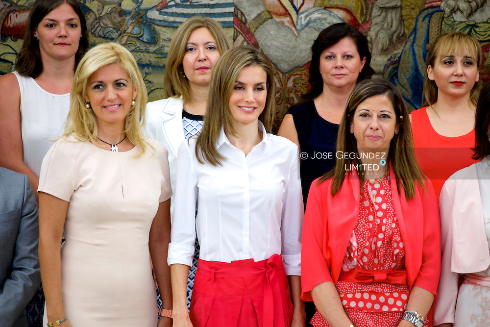 Queen Letizia of Spain attends an audience at Palacio de la Zarzuela on July 28, 2014 in Madrid