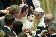 Vatican City jan 20th 2016, weekly general audience. In the picture pope Francis with a married couple