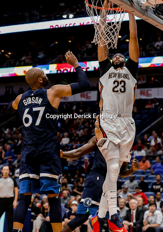 Nov 1, 2017; New Orleans, LA, USA; New Orleans Pelicans forward Anthony Davis (23) dunks over Minnesota Timberwolves forward Taj Gibson (67) during the second half of a game at the Smoothie King Center. The Timberwolves defeated the Pelicans 104-98. Mandatory Credit: Derick E. Hingle-USA TODAY Sports