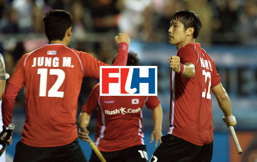 BUENOS AIRES - Hock World League Semi Final Men<br /> 19 KOR v NZL (Pool A)<br /> foto: Hyunwoo Nam scores 3-3 pc.<br /> FFU PRESS AGENCY COPYRIGHT FRANK UIJLENBROEK