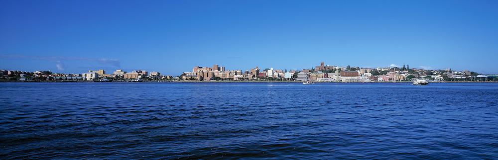 Newcastle skyline from Stockton, NSW, Australia