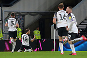 Derby County forward Chris Martin (19) celebrates after scoring during the EFL Sky Bet Championship match between Derby County and Stoke City at the Pride Park, Derby, England on 31 January 2020.