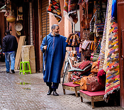 A shopkeeper open up his shop in the early morning in the medina in Marrakech, Morocco, North Africa<br /> <br /> (c) Andrew Wilson | Edinburgh Elite media