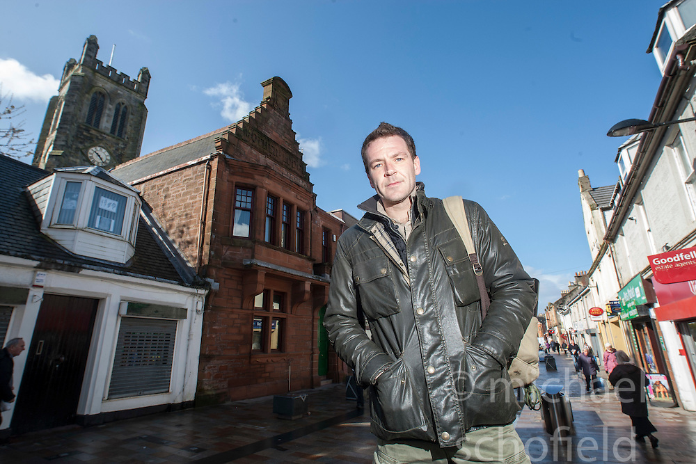 Historian Ashley Cowie pictured at the original Lodge of the Freemasons. When the Lodges were renumbered, Kilwinning was kept as Lodge Number '0', the Mother Lodge of Scotland. He is doing a seven part series for The Scottish Sun on Scotland's treasure hunts at the end of April..©Michael Schofield..