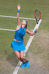 Petra Kvitova in action against Mihaela Buzarnescu during their  semi final match on day six of the Nature Valley Classic at Edgbaston Priory, Birmingham. PRESS ASSOCIATION Photo. Picture date: Saturday June 23, 2018. See PA story TENNIS Birmingham. Photo credit should read: Mike Egerton/PA Wire. RESTRICTIONS: Editorial use only, no commercial use without prior permission