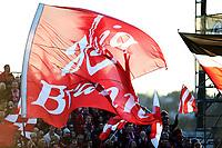 Fotball , 30. mars 2014 , Tippeligaen , Eliteserien , Sarpsborg - Brann 3-0<br /> <br /> illustrasjon , flagg , Brann , tilskuere , fan fans