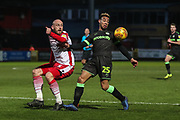 Forest Green Rovers Junior Mondal(25) controls the ball during the EFL Sky Bet League 2 match between Stevenage and Forest Green Rovers at the Lamex Stadium, Stevenage, England on 26 January 2019.