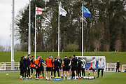 The squad take a drinks break during the England training session ahead of the UEFA Euro Qualifier against the Czech Repulbic, at St George's Park National Football Centre, Burton-Upon-Trent, United Kingdom on 19 March 2019.