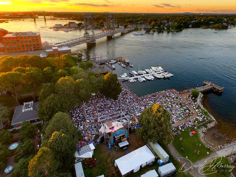 An aerial view of the Bela Fleck concert at Prescott Park Arts Festival in Portsmouth, NH. July 2015