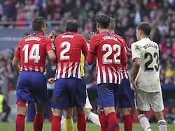 February 9, 2019 - Madrid, Madrid, Spain - Players of Atletico de Madrid protest to referee during La Liga Spanish championship, , football match between Atletico de Madrid and Real Madrid, February 09th, in Wanda Metropolitano Stadium in Madrid, Spain. (Credit Image: © AFP7 via ZUMA Wire)