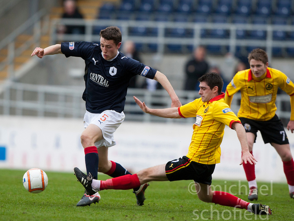 Falkirk's Murray Wallace and Kris Doolan..half time, Falkirk v Partick Thistle, 10/3/2012..©Michael Schofield.