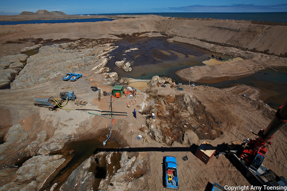 ORANJEMUND, NAMIBIA -- SEPTEMBER 26: Views from a crane of the site of what scientists presume to be an early 1500s, Portuguese shipwreck off the Namibian coast on September 26, 2008 in Oranjemund, Namibia. The wreck was discovered by miners in the Namdeb diamond mine off the coast of Namibia. The ship was found seven meters below sea level on April 1, 2008. Most of the the artifacts found are being stored in a storage shed at the Namdeb Diamond Mine. Items include: copper ingots, bronze canons, canon balls, pewter bowls and plates, ivory tusks from African elephants, and most substantial over 2000 gold coins- approximately 21 kg - the most gold found in Africa since the Valley of the Kings in Egypt. (Photo by Amy Toensing) _________________________________<br />