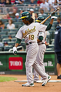 Oakland Athletics Jemile Weeks prepares to bat against the Minnesota Twins on July 13, 2012 at Target Field in Minneapolis, Minnesota.  The Athletics defeated the Twins 6 to 3.  © 2012 Ben Krause