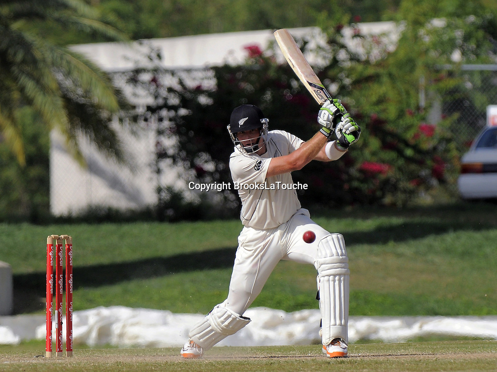 Martin Guptill drives Samuels for 67 - Day 4 of the first test West Indies v New Zealand at Sir Vivian Richards Stadium, Antigua, West Indies.<br /> 28 July 2012. Photo;Randy Brooks/Photosport.co.nz