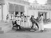 E.O.Hoppé preparing to photograph the Maharaja of Udaipur, India, 1929