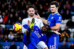 Wilfred Ndidi of Leicester City clears the ball from Sean Morrison of Cardiff City - Mandatory by-line: Robbie Stephenson/JMP - 29/12/2018 - FOOTBALL - King Power Stadium - Leicester, England - Leicester City v Cardiff City - Premier League