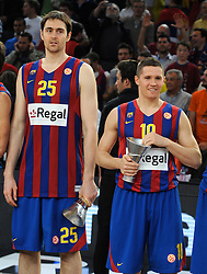 Erazem Lorbek #25 and Jaka Lakovic #10 of Regal FC Barcelona  during the 2009-2010 Euroleague Basketball Champion Awards Ceremony at Bercy Arena on May 9, 2010 in Paris, France. (Photo by Nebojsa Parausic / Sportida)