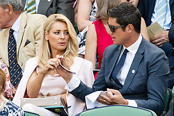 © Licensed to London News Pictures. 03/07/2018. London, UK.  Tess Daly and Vernon Kaye watch centre court tennis in the royal box on the second day of the Wimbledon Tennis Championships 2018. Photo credit: Ray Tang/LNP