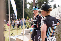 Lizzie Holden (Drops) chats with teammates as they wait for their moment to sign in at Trofeo Alfredo Binda 2017. A 131 km road race on March 19th 2017, from Taino to Cittiglio, Italy. (Photo by Sean Robinson/Velofocus)