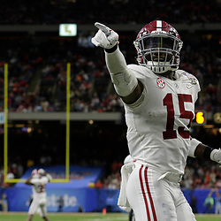 Jan 1, 2018; New Orleans, LA, USA; Alabama Crimson Tide defensive back Ronnie Harrison (15) reacts during the fourth quarter against the Clemson Tigers in the 2018 Sugar Bowl college football playoff semifinal game at Mercedes-Benz Superdome. Mandatory Credit: Derick E. Hingle-USA TODAY Sports