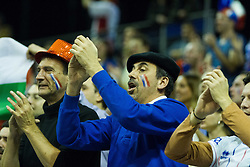 08.01.2016, Max Schmeling Halle, Berlin, GER, CEV Olympia Qualifikation, Frankreich vs Bulgarien, im Bild Jubelnde Fans aus Frankreich auf der Tribuene // during 2016 CEV Volleyball European Olympic Qualification Match between France and Bulgaria at the  Max Schmeling Halle in Berlin, Germany on 2016/01/08. EXPA Pictures © 2016, PhotoCredit: EXPA/ Eibner-Pressefoto/ Wuechner<br /> <br /> *****ATTENTION - OUT of GER*****