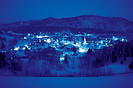 Looking down at the town of South Royalton , Vermont. winter