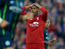 LIVERPOOL, ENGLAND - Sunday, October 7, 2018: Liverpool's Daniel Sturridge looks dejected after missing a chance during the FA Premier League match between Liverpool FC and Manchester City FC at Anfield. (Pic by David Rawcliffe/Propaganda)