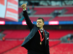 Bristol City manager, Steve Cotterill puts his thumbs up to the bristol city fans at full time. - Photo mandatory by-line: Alex James/JMP - Mobile: 07966 386802 - 22/03/2015 - SPORT - Football - London - Wembley Stadium - Bristol City v Walsall - Johnstone Paint Trophy Final