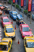 Taxis waiting in line in Bangkok.