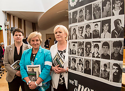 MSP's Ruth Davidson and Johann Lamont were hosts at an event remembering the massacre at Srebrenica during the Yugoslav war. They are joined by Chair of Remembering Srebrenica Scotland, the very Reverend Lorna Hood.<br /> <br /> © Dave Johnston/ EEm