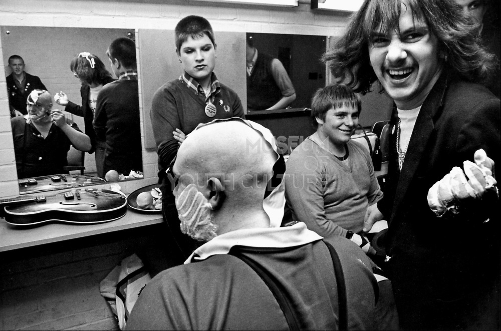 Buster Bloodvessel of Ska, 2 Tone band, Bad Manners, having his head shaved backstage, UK 1980