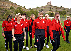ALHAURÍN EL GRANDE, SPAIN - TUESDAY, MARCH 5, 2019: Wales' Jessica Fishlock, Gemma Evans and goalkeeper Claire Skinner during a pre-match team walk at the at Alhaurin Golf Resort in Spain. (Pic by David Rawcliffe/Propaganda)