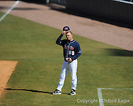 Mississippi assistant coach Rob Francis vs. Oakland in Oxford, Miss. on Saturday, February 27, 2010. Ole Miss won 10-2.