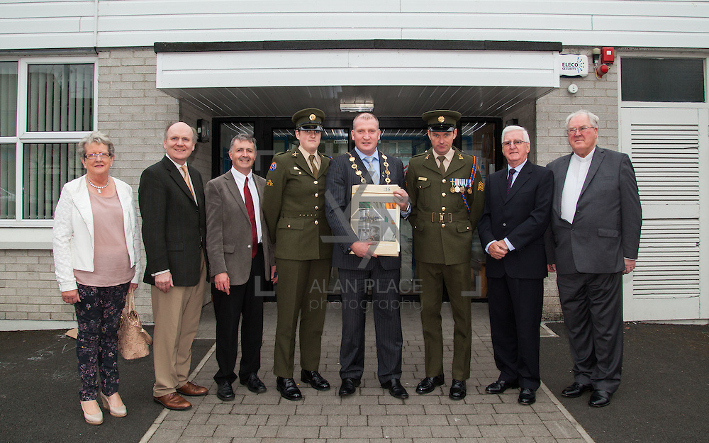 23/10/2015       <br /> Members of the Defence Forces were in Abbeyfeale today to present a handmade Tricolour and a copy of the Proclamation of the Irish Republic to students of the town's two primary schools.<br /> <br /> St Marys Boys National School and Scoil Mh&aacute;thair D&eacute; are among 3,000 schools nationally and 152 Limerick primary schools to receive the presentation as part of initiatives to mark the centenary of the 1916 Rising.&nbsp;<br /> <br /> Councillor Liam Galvin, Mayor of the City and County of Limerick joined pupils and teachers for today's presentation ceremony, which saw representatives of the Defences Forces raise the flag and read the Proclamation. <br /> <br />  Attending the ceremony at St. Marys Boys National School were, Eileen O'Brien, St. Marys Board, Damian Brady, Limerick City and County Co-Ordinator 2016, Sean Woulfe, Principal, Private Ciara Quinn, Mayor of Limerick Cllr. Liam Galvin, Sergeant James Reddan, Con Daly, Chairman Of The Board St. Marys BNS and Fr. John O'Shea. Picture: Alan Place.