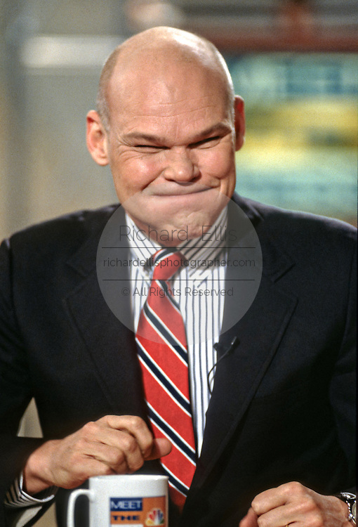 Political commentator James Carville on NBC's show Meet the Press March 1, 1998 in Washington, DC.