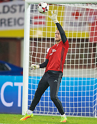 VIENNA, AUSTRIA - Thursday, October 6, 2016: Wales' goalkeeper Adam Davies warms-up before the 2018 FIFA World Cup Qualifying Group D match against Austria at the Ernst-Happel-Stadion. (Pic by David Rawcliffe/Propaganda)