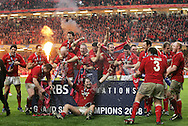 RBS Six Nations Championship 2008, Wales v France international at the Millennium Stadium in Cardiff on 15th March 2008. The Wales players celebrate their Grand Slam, triple crown and the championship winning of the 2008 RBS Six Nations tournament. pic by Andrew Orchard