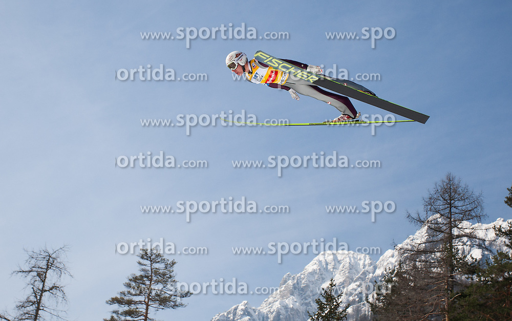 23.03.2013, Planica, Kranjska Gora, SLO, FIS Ski Sprung Weltcup, Skifliegen, Team, Probedurchgang, im Bild Stefan Kraft (AUT) // Stefan Kraft of Austria during his trial jump of the FIS Skijumping Worldcup Team Flying Hill, Planica, Kranjska Gora, Slovenia on 2013/03/23. EXPA Pictures © 2012, PhotoCredit: EXPA/ Juergen Feichter
