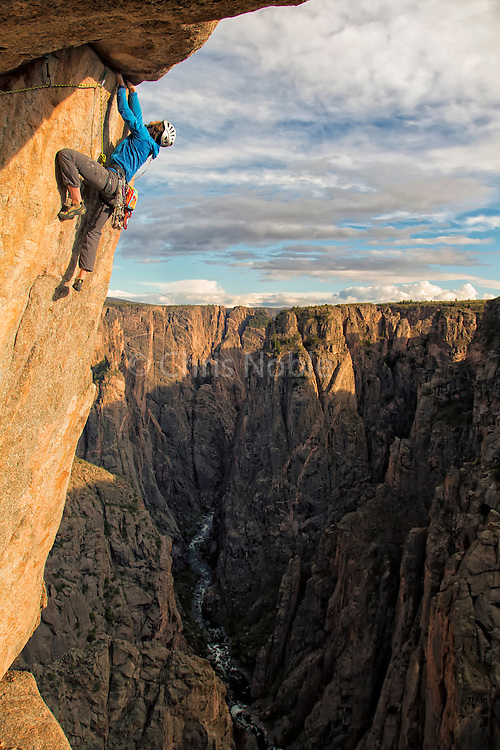 "Big wall climber Madaleine Sorkin climbing the final ""Photo Finish"" pitch (11+) of the ""Free Nose,"" North Rim, Black Canyon of the Gunnison."